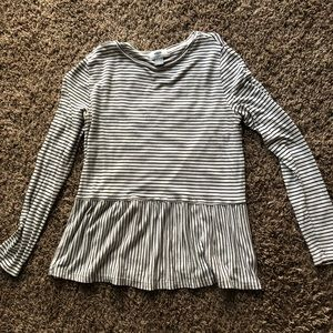 Flowy black and white striped blouse